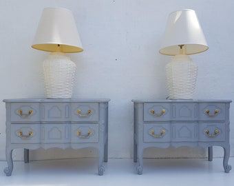 Baker Furniture  Serpentine Front  French Country  Nightstands A Pair.