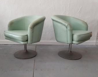 Mid-Century Modern Tulip Base  Swivel Chairs A Pair .