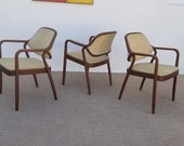 Vintage Mid-Century Bill Stephens For Knoll Arm Dining Chairs Set Of -3.