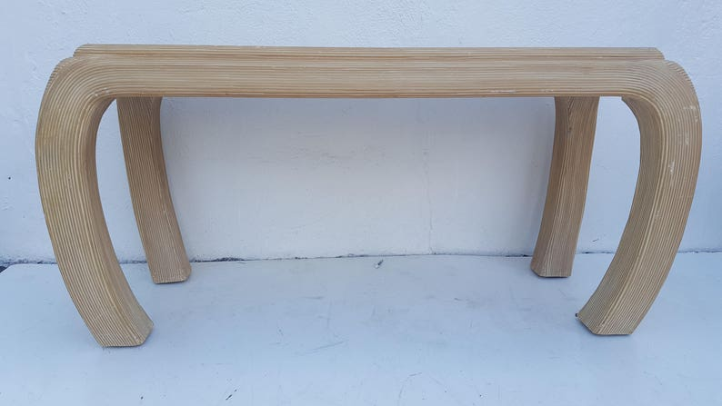Vintage Pencil  Reed Rattan Console  Table .