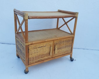 Vintage Two Tier  Rolling Bar Cart .