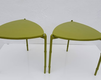 Vintage Green Painted  Triangular Stacking Side Tables  A Pair.