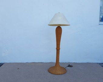 Vintage Woven Wicker Floor Lamp .