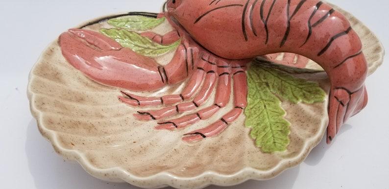 1982 Cottage  Ceramic  Lobster  Divided Dish .