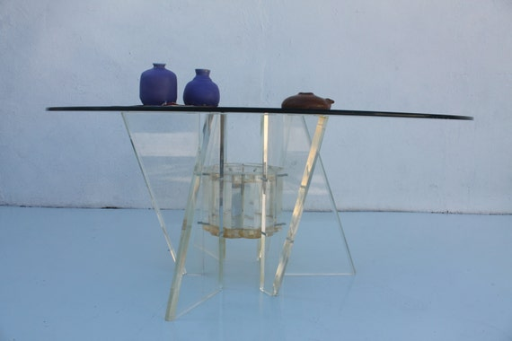 Vintage Sculptural Lucite Base Glass Top Round Coffee Table Etsy