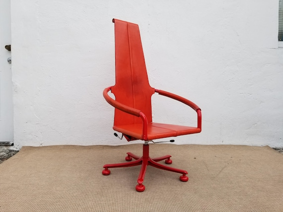 Peachy Italian Red Leather Swivel Rocking Sculptural Office Accent Chair Ibusinesslaw Wood Chair Design Ideas Ibusinesslaworg
