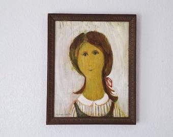 1960s Dagmar Vodicka Female Portrait Painting.