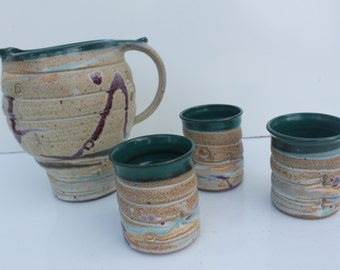 Vintage Studio Pottery Jug And Mugs Signed By Barm Set / 4.