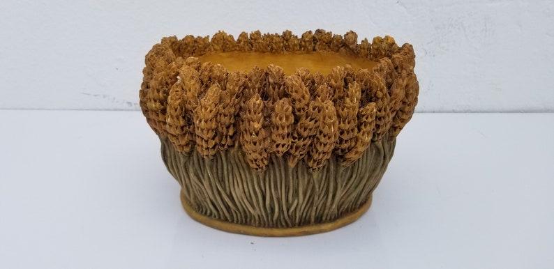 1998 Signed Sculptural  Wheat Resin Sheaf Planter .