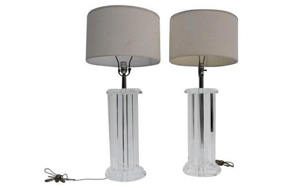 Vintage Octagonal Columns Lucite Table Lamps A Pair