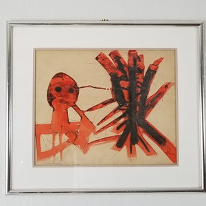 1970/'s Vintage Ralph Dubin Abstract Portrait Painting .
