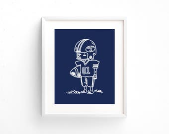 BYU Football Print - Brigham Young University Decor - BYU Cougars - My Dad Taught Me the Four Seasons - Illustration