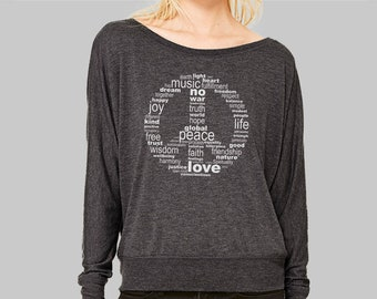 e139a0355b2b82 Peace Sign Shirt for Women | Long Sleeve Plus Size Clothing, Graphic Tees,  Bella Flowy
