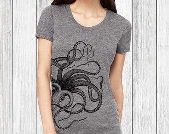 Octopus Graphic Tees for Women graphic tee womens tshirts octopus tshirt womens t shirts octopus tee shirt