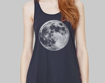 Moon Tank Top Full Moon womens clothing screen print graphic tee plus size Bella Flowy tank top moon shirt racerback tank
