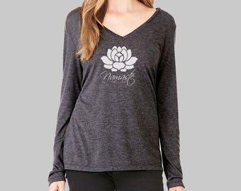 Lotus Long Sleeve Tshirt Lotus Flower Shirt v neck tshirt womens long sleeve shirt graphic tees for women yoga yoga t shirt
