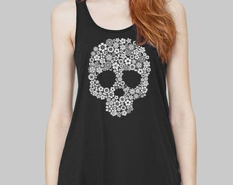 Skull - Skull Tank Top, Graphic Tank, Graphic Tanks For Women, Racerback Tank, Bella Flowy Tank Top, Flowers