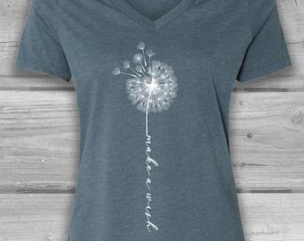 Dandelion Make A Wish Shirt Women - V Neck T Shirt - Womens Graphic Tees - Dandelion Flower
