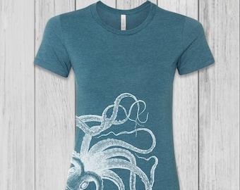 Octopus Shirt Women - Graphic Tees for Women - Octopus Tshirt Women - Screen Print Shirt - Fitted Tees
