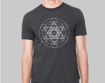 Mens Sacred Geometry Shirt | Graphic Tee Metatrons Cube Tshirt, Sacred Geometry Clothing, Geometric