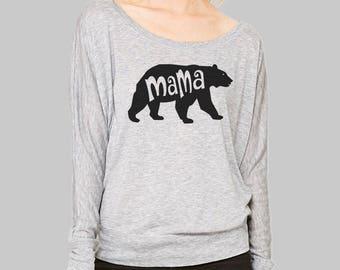608558ec282c8 Womens Long Sleeve Mama Bear Shirt    Dolman Sleeve Top