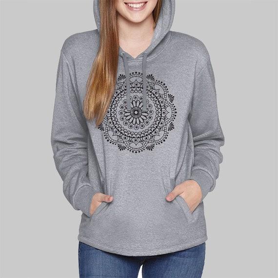 Hoodies for Women Mandala Sweatshirt | Womens Hoodies, Plus Size Yoga Clothing, Grey Hoodies