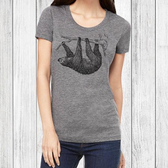 72fd5578 Womens Fitted T Shirts Sloth Tee // Animal Tshirt Graphic   Etsy
