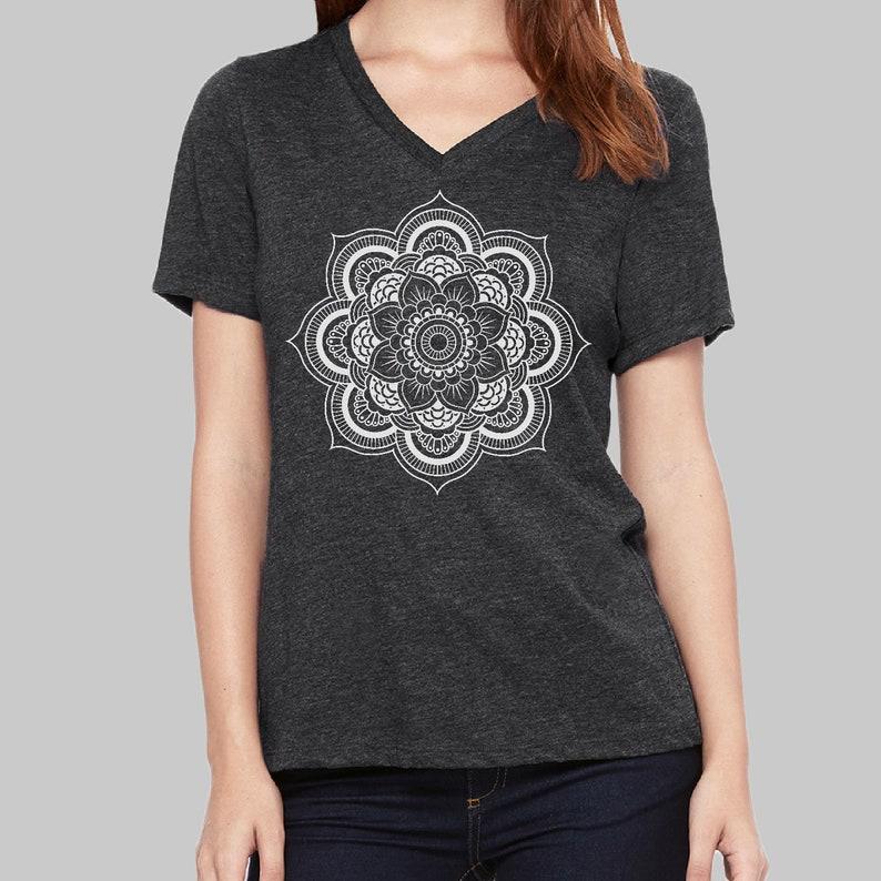 d5951e30 Mandala V Neck T Shirt Womens Vneck Tshirt Screen Print | Etsy