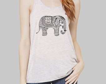 Elephant Womens Clothing Tank Top elephant shirt plus size Bella flowy tank tops