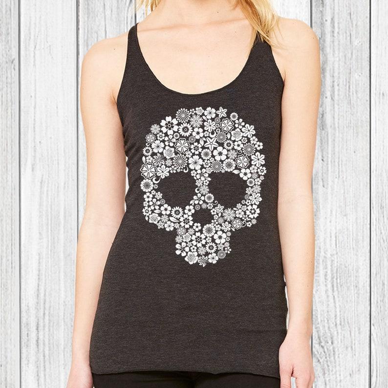 f93c0ef5be106 Skull Tank Top for Women Workout Tank Sugar Skull Clothing