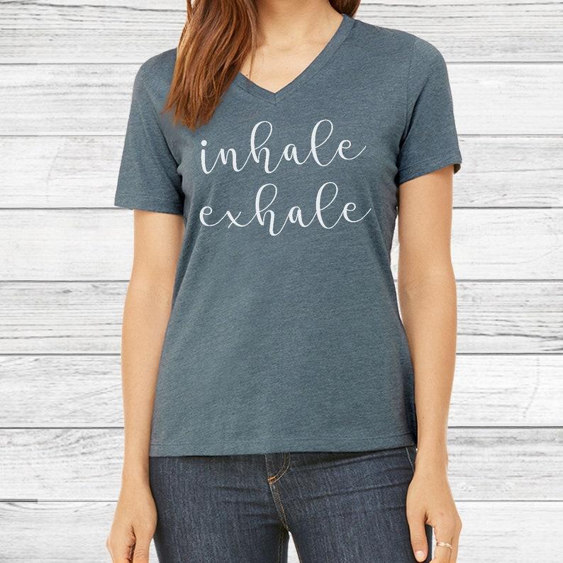 a944279bce5e Inhale Exhale Top Womens Shirt Yoga V Neck Shirt for Women | Etsy
