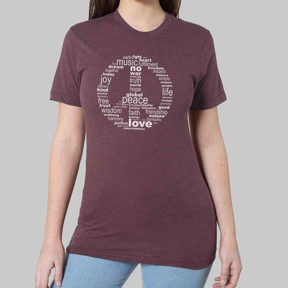 aefa5e873 Womens Unisex Tshirt Peace Sign Tees // Plus Size Tops | Etsy