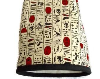 Cafetière cosy (cozy) in decorative hieroglyphic print fabric