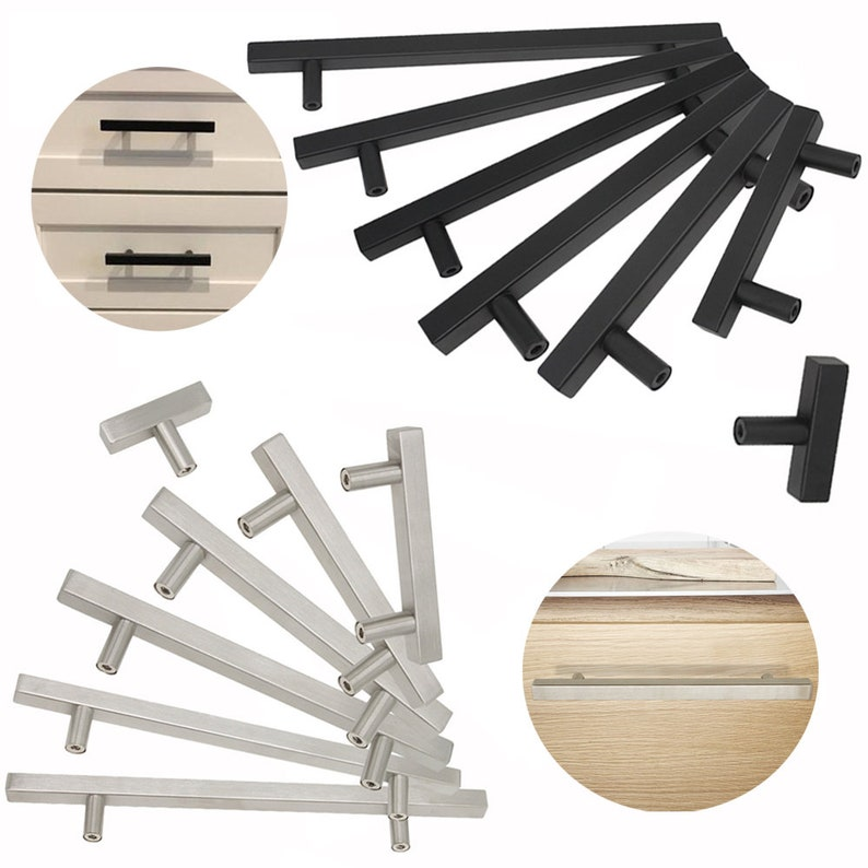 Stainless Steel Handles Kitchen Cabinet Door Knobs Brushed Nickel Black Square