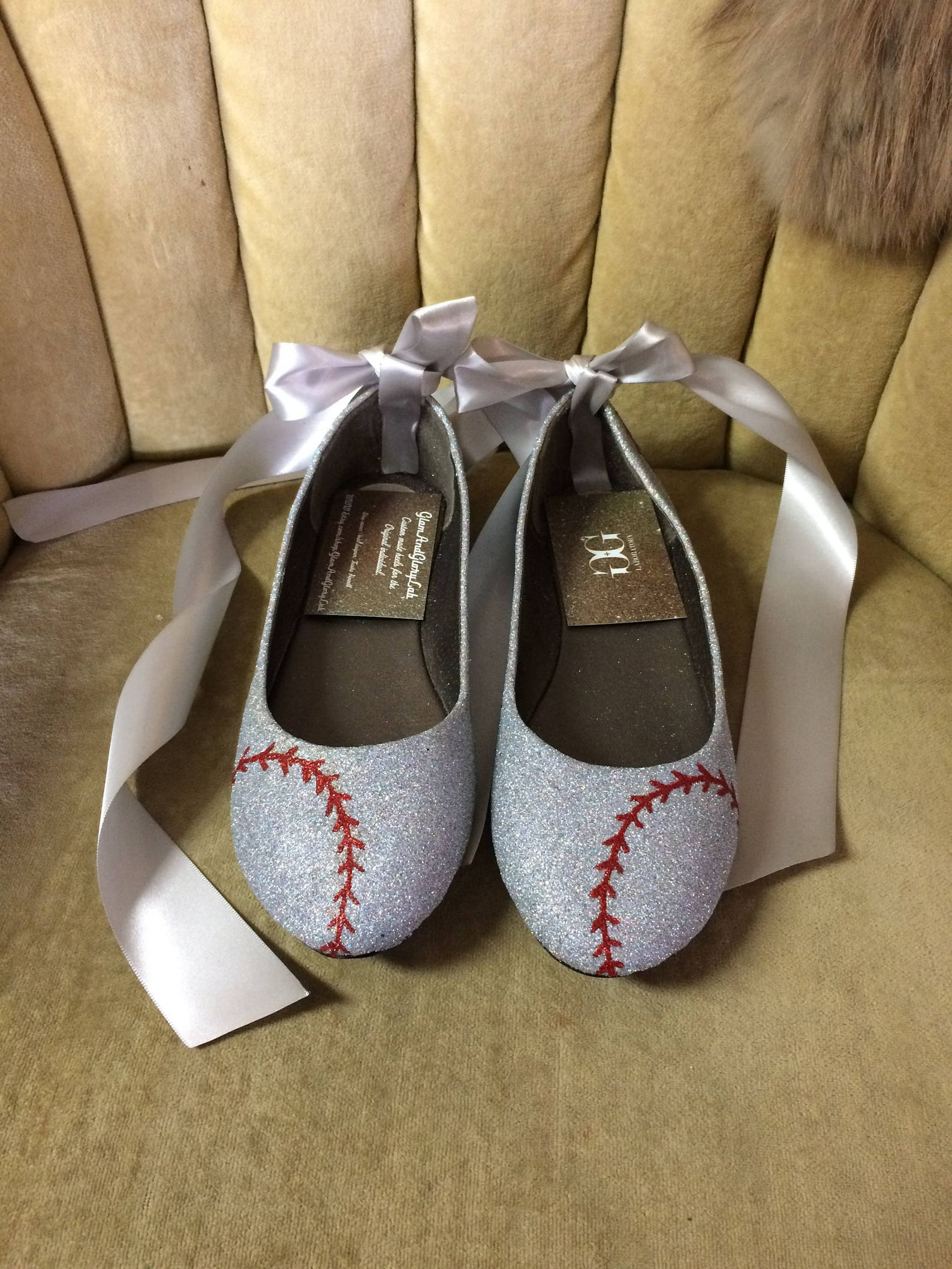 custom made to order lace up baseball ballet flats. baseball stitched holographic silver and navy blue flats. womans us sizes 5-