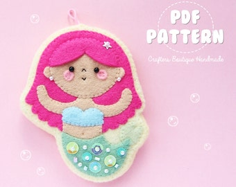 Little Mermaid Sugar Cookie Charm PDF Pattern. Digital Pattern. Soft Toy Pattern.