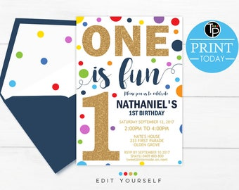 Confetti BOY 1st Birthday INVITATION Invitation Boy First Instant Download Primary Color 0224