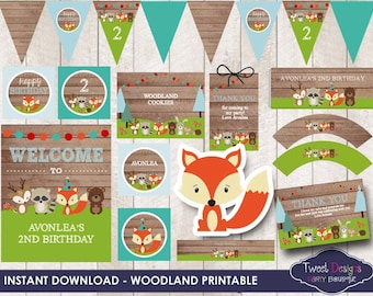 Woodland Animals Invitation Instant Download Woodland Etsy