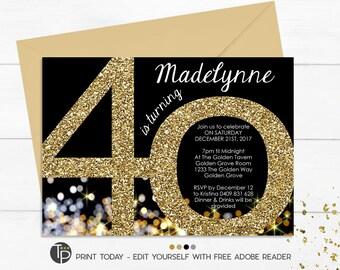 40th invitation etsy