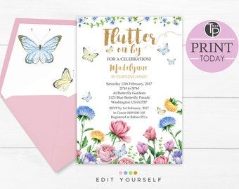 BUTTERFLY BIRTHDAY INVITATION Butterfly Invitations Instant Download 1st Birthday Invitation Garden