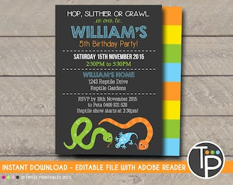 REPTILE Invitation Instant Download INVITATION Reptile Party Printable Edit Yourself With Adobe Reader
