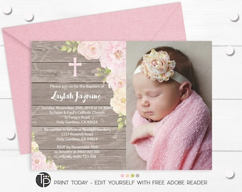 Photo Baptism Invitation Instant Download Editable Girl Christening Rose Invite