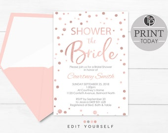 rose gold bridal shower invitation instant download invitation rose gold shower invitation printable bridal shower invitation rose gold