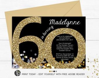 60th Birthday Invitation Instant Download Invitations Gold Glitter Adult