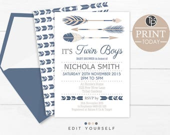 Twin girls baby shower invitation instant download printable etsy tribal twins baby shower instant download twin boys baby shower invitation twins baby shower invitation boy tribal twins invitation filmwisefo