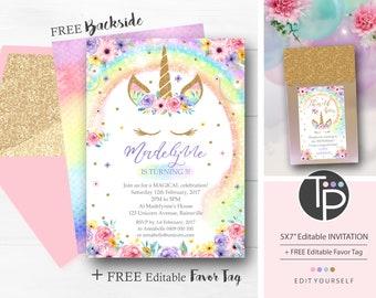 RAINBOW UNICORN Birthday Invitation Rainbow Unicorn Instant Download Party Invitations FREE Favor Tag 0210
