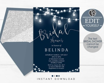 lights and lanterns bridal shower invitation string lights bridal shower invitation instant download navy blue silver shower invitation