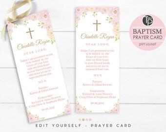 Girl Baptism Prayer Card, Instant Download Prayer Card, Baptism Bookmark, Pink Floral Prayer Card, Editable Prayer Card, Printable Prayer