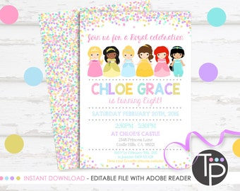 PRINCESS INVITATION Instant Download Princess Party Invitation Printable Birthday 0217