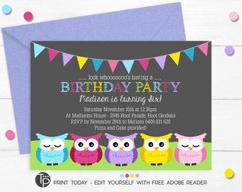 Owl invitation etsy owl birthday invitation instant download owl invitations owl party invitation owl printable owl party edit yourself with adobe reader filmwisefo